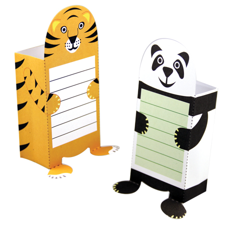 A tiger and panda sticky note holder.