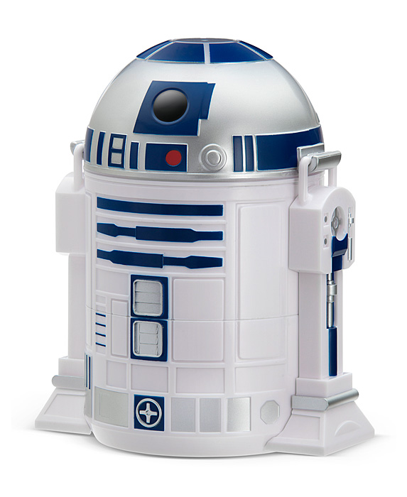 An R2-D2 Bento Lunch Box from ThinkGeek that can also be used for office supply storage.