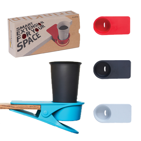 A DrinKlip Uni can be used to store your coffee cup at work.