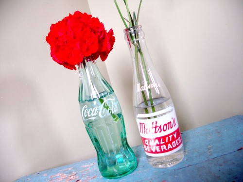 A vintage Coca Cola bottle and an old Mattson's soda bottle are storing flowers.