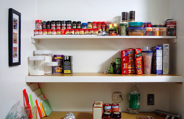 Moving from a house to an NYC apartment? DIY kitchen storage shelves.