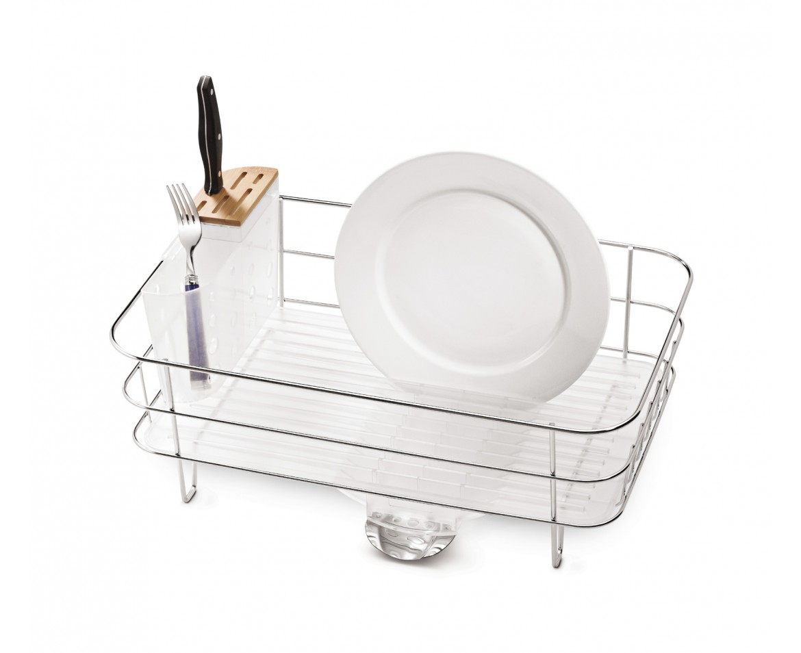 A small Simple Human slim wire frame dishrack is storing a fork, knife, and plate.