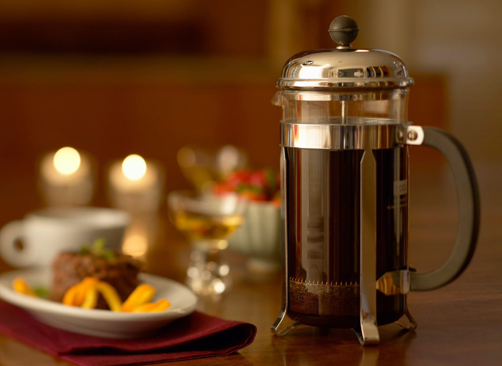 A French press saves space in a small kitchen.