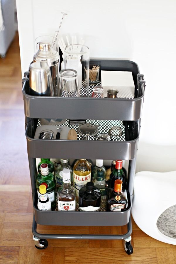 Ikea Aneboda Wardrobe Extra Shelf ~ Easy IKEA Hack Raskog utility cart used as a portable bar cart in a