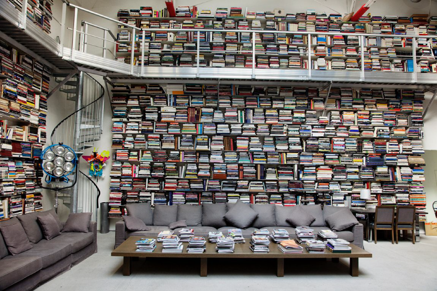 Karl Lagerfelds sideways library is used for tons of book storage.