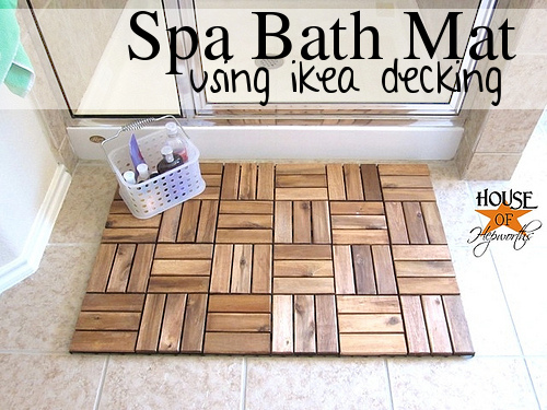 Upcycling a Runnin floor decking into a spa bath mat is a creative IKEA hack.