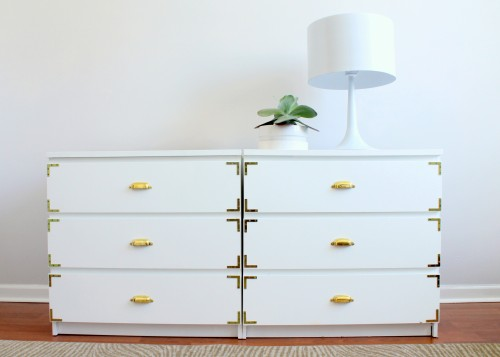 An IKEA hack made of white MALM drawers in a small apartment.