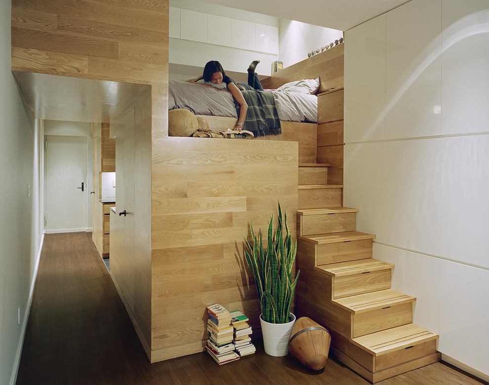 A Wooden Loft Bed In A Tiny Apartment.