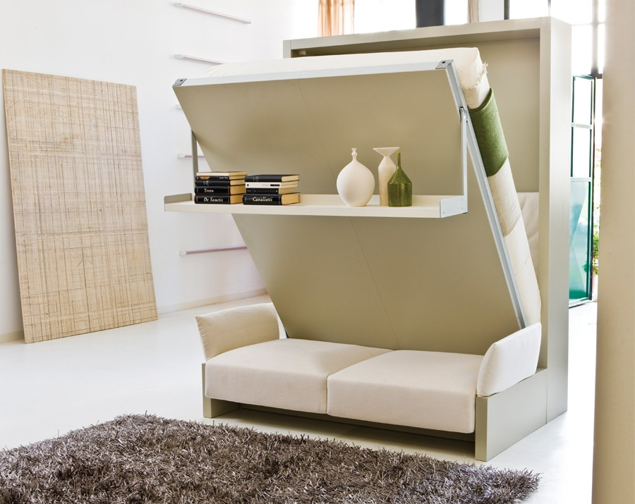 A Nuovoliola Murphy Bed From Resource Furniture That Includes A Sofa And  Storage Shelf.