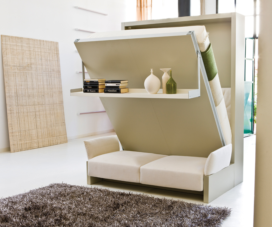 A Nuovoliola murphy bed from Resource Furniture that includes a sofa and storage shelf. : narrow-loft-bed - designwebi.com