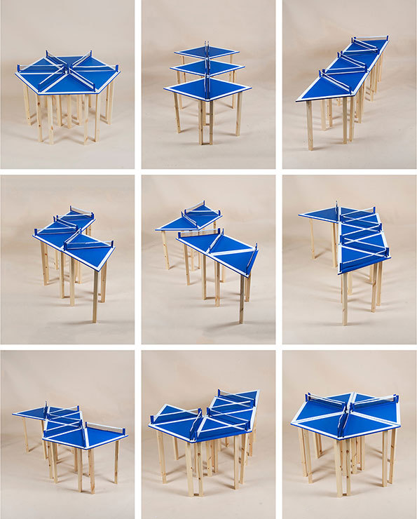 A blue Matthew Hill triangular ping pong table can be arranged in 100 different ways.