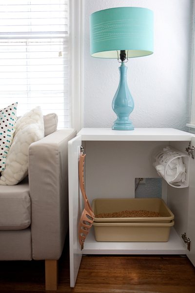 A creative IKEA hack is repurposing a STUVA BETSAD into a DIY kitty litter box cover/end table.