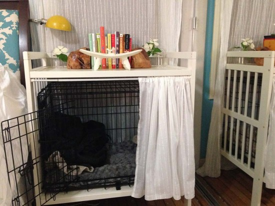 A Gulliver changing table used as a dog crate and nightstand is an easy IKEA hack.
