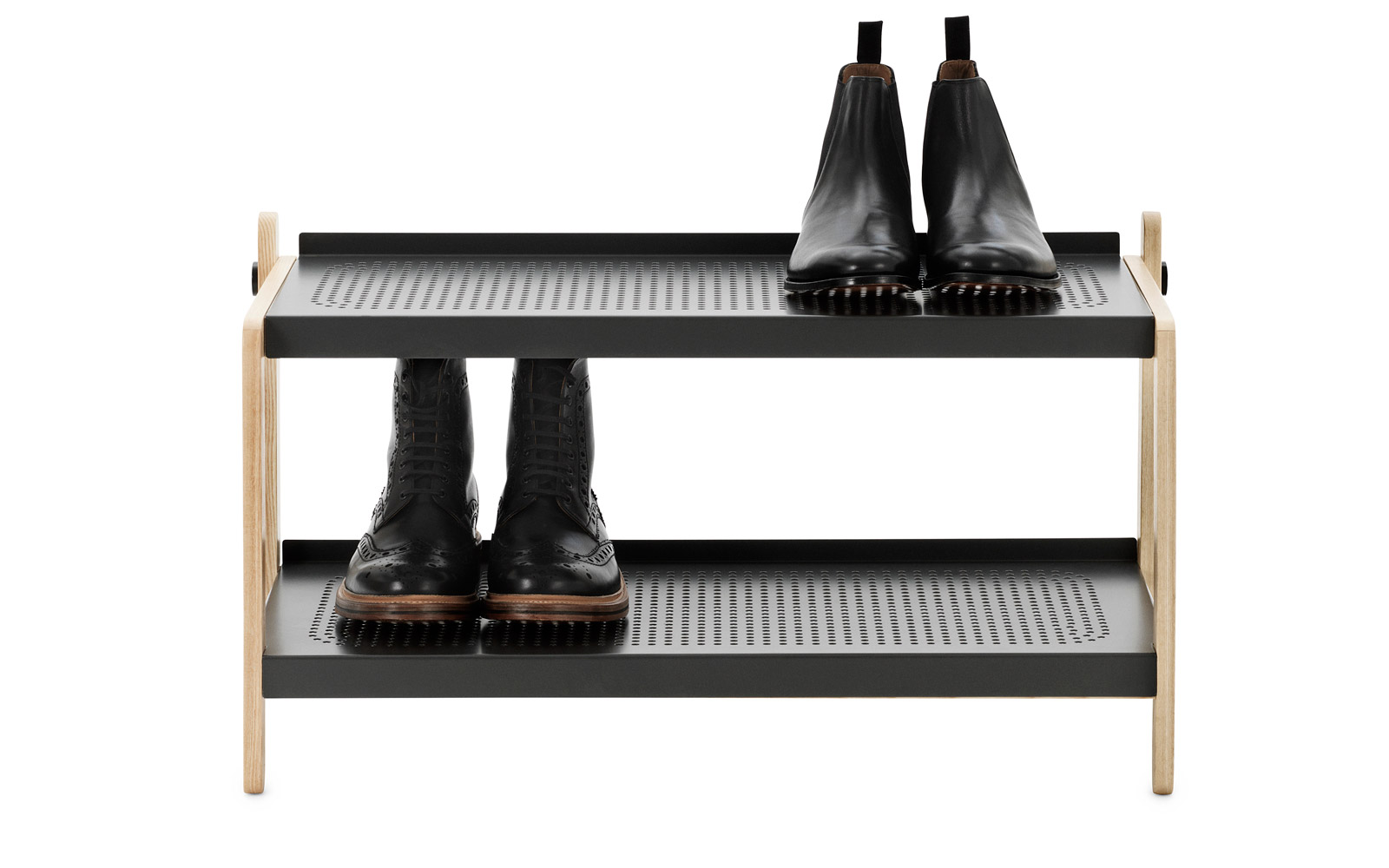 Store shoes on a shoerack outside of your door in the hallway.
