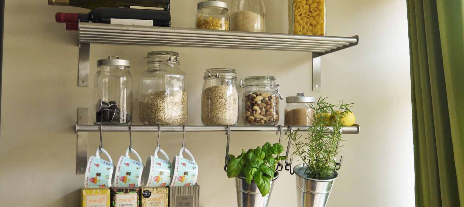 Charmant Metal Shelves And S Hooks Used For Cheap Storage In A Small Kitchen.