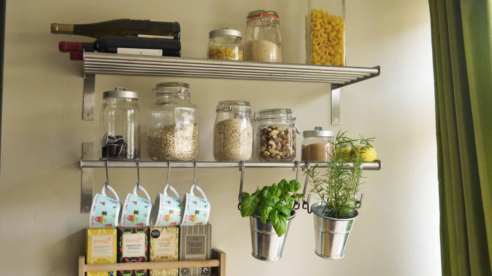 7 smart ways to save a ton of space in your small kitchen for Small kitchen shelves