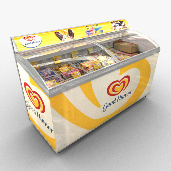 A Good Humor ice cream freezer filled with assorted ice cream and popsicles.