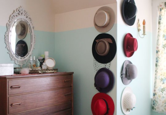 Storage ideas for small spaces: nail hat storage hooks.
