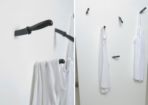 Storage ideas for small homes: Knife wall hooks storing clothes.
