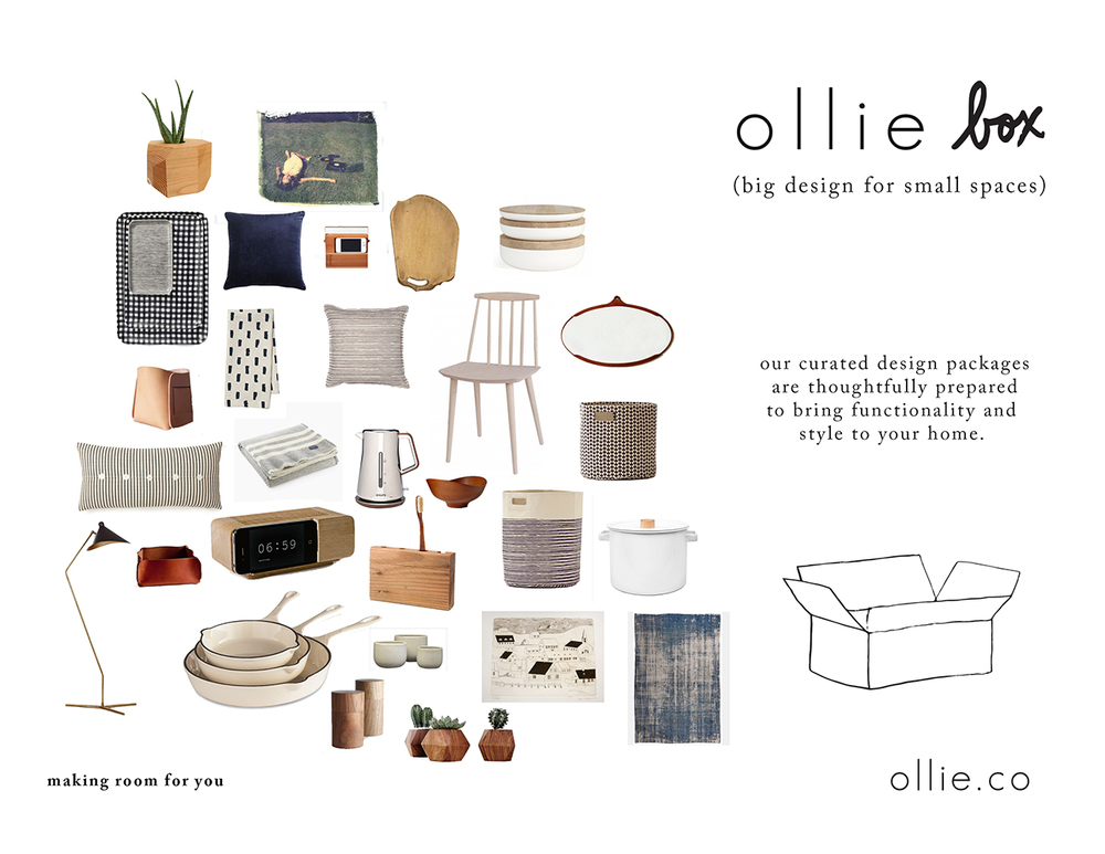 Ollie Box is a curated design package of accent items that Ollie curates and delivers to your door.