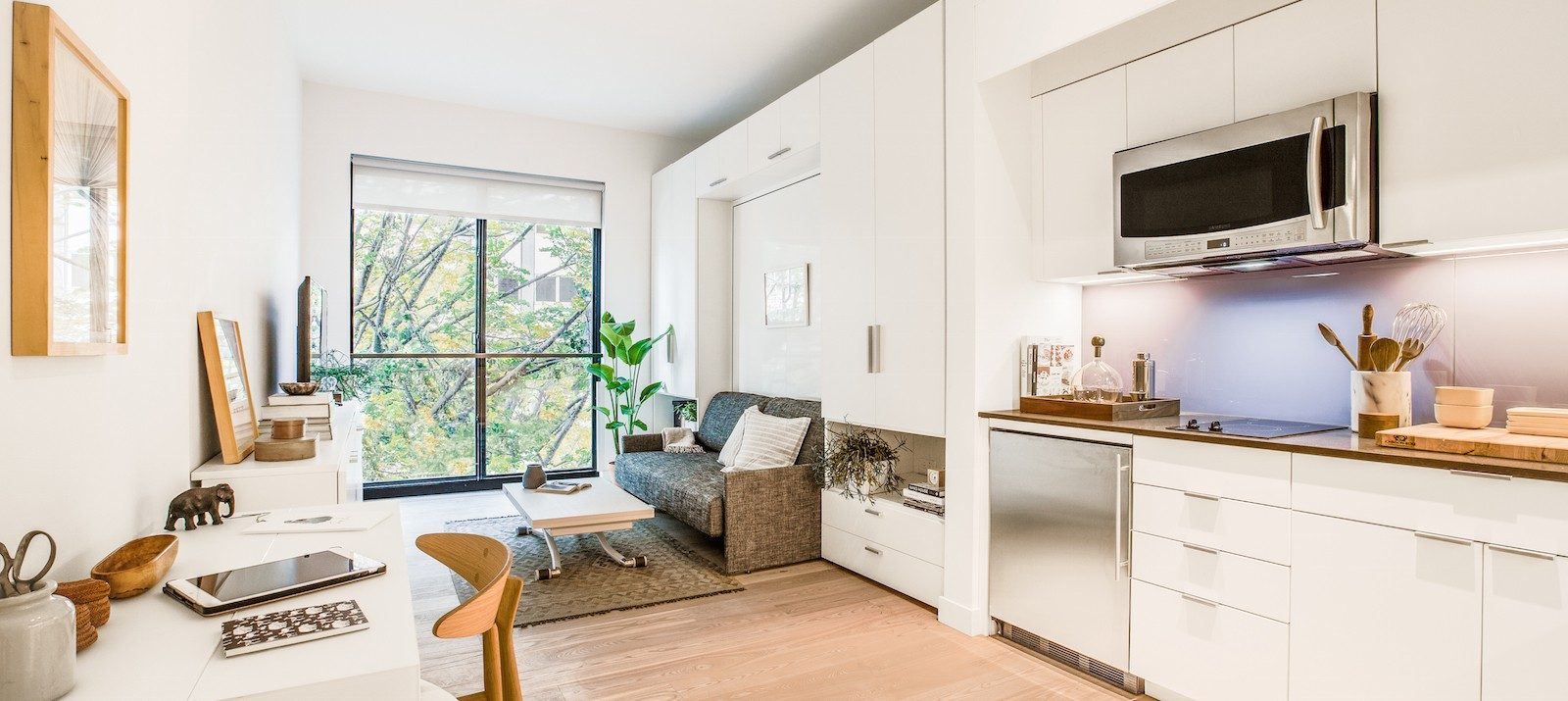 The clean, minimal, and furnished interior of Carmel Place, NYC's first micro-apartment building, which is located at 335 E 27th St in Kips Bay, Manhattan.