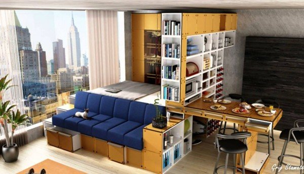 small-studio-apartment-platform-storage-bed | Elbow Room