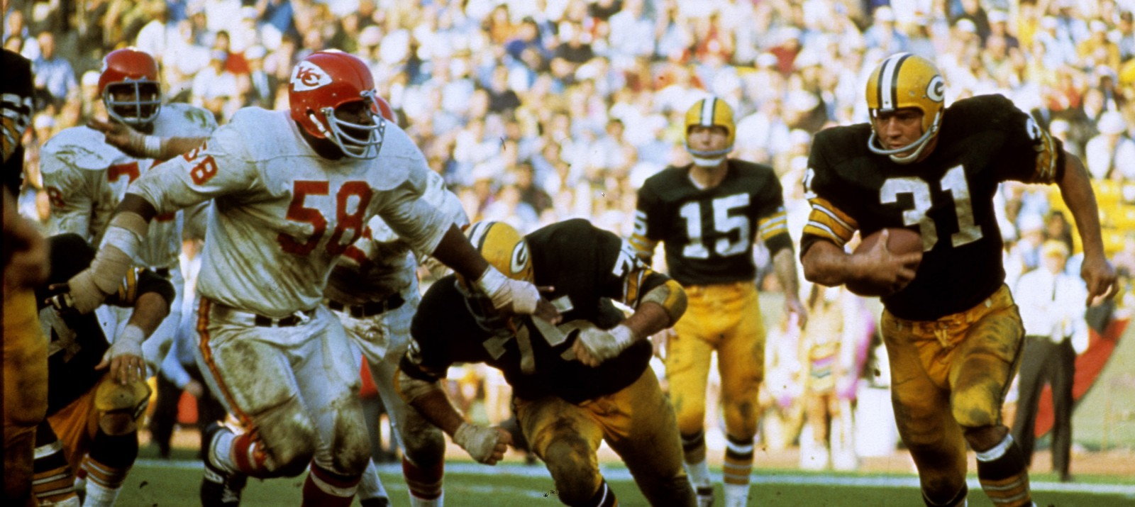Kansas City Chiefs vs Green Bay Packers in Super Bowl I on January 15, 1967.