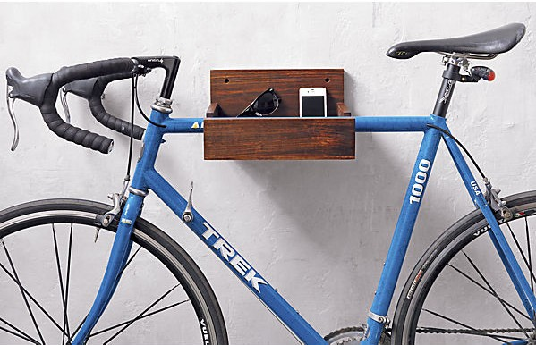 A CB2 wood bike storage rack is a creative and cheap Valentines Day gift for husband or wife.