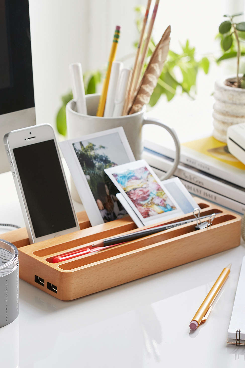 Urban Outers Wood Charging Station Desk Organizer