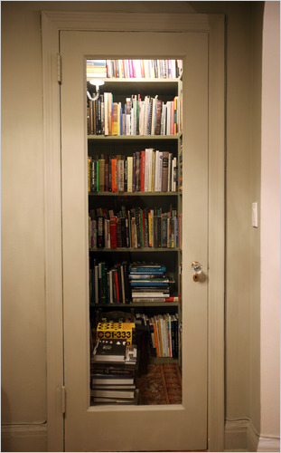 Donald Albrecht, Museum of the City of New York curator of architecture and design, built a creative book storage hack in his apartment's closet.
