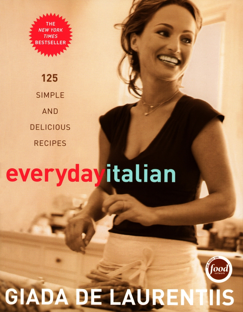 "Giada De Laurentiis Everyday Italian cookbook cover reads ""125 simple and delicious recipes"" and is a New York Times Bestseller."