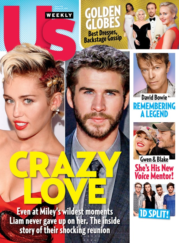 Miley Cyrus and Liam Hemsworth on the cover of US Weekly magazine.
