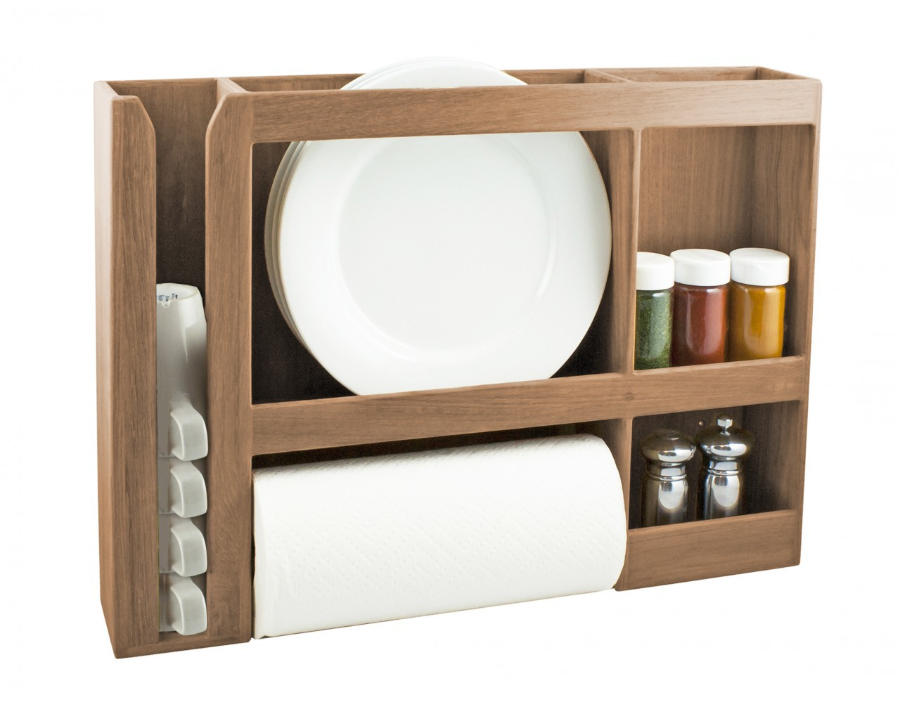 A SeaTeak Dish Cup Spice Towel Rack Is Storing Plates Paper