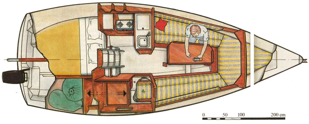 A layout of a small boat's interior showing multipurpose furniture and smart storage solutions.