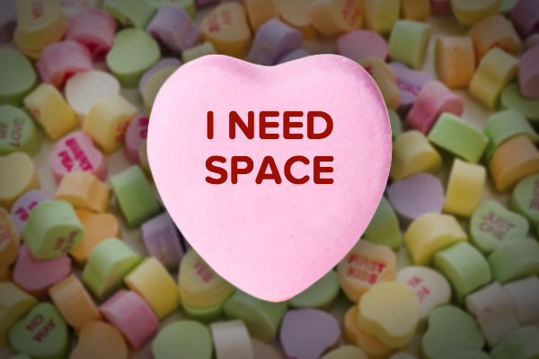 "A pink ""I need space"" candy heart created by MakeSpace storage for Valentine's Day."