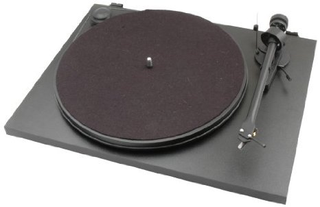 A Pro-Ject Essential II Matte Black Turntable is one of the best vinyl record players for tiny apartments.