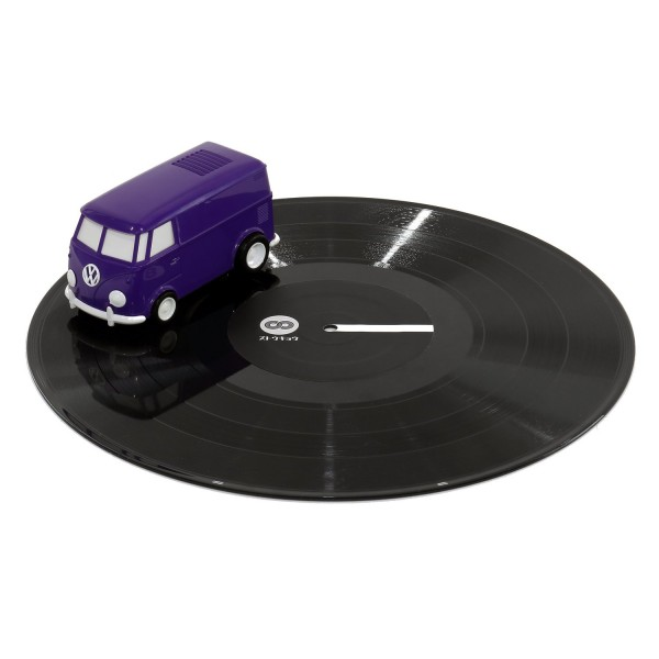 The Record Runner is a creative and affordable vinyl record player that looks like a purple VW bus.