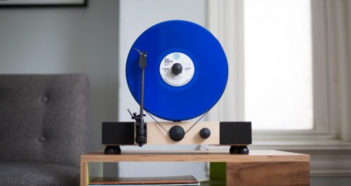A Gramavox Floating Record Vertical Turntable is one of the best vinyl record players for tiny apartments.