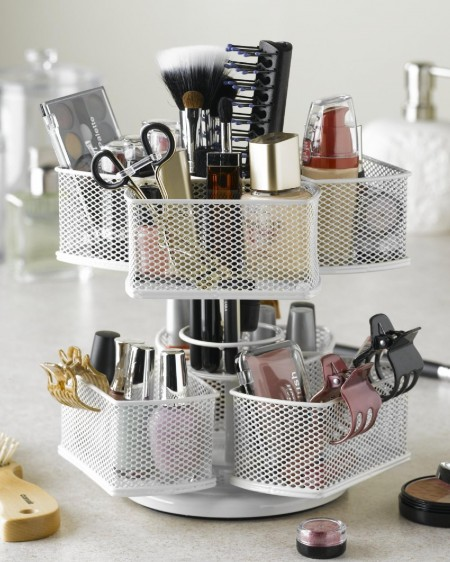 One of many creative ways to organize makeup is by storing it in a cosmetic carousel that spins.