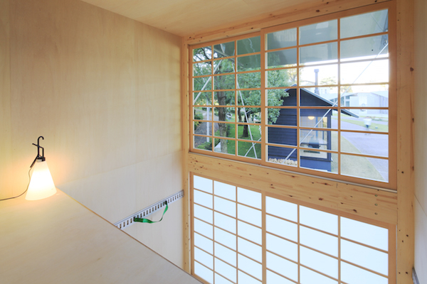 The minimal interior of a MUJI Aluminum Hut in Japan.