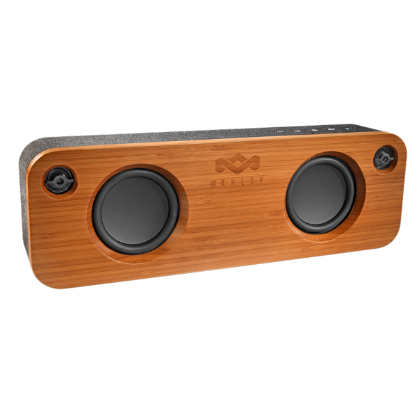 A small bamboo Get Together portable audio system by House of Marley