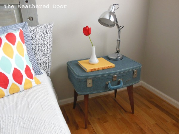 A DIY side table made from a vintage suitcase.