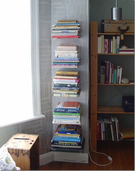 diy invisible shelves used for book storage