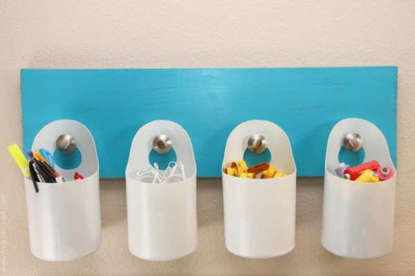 diy hanging storage bins made from disinfectant wipe containers