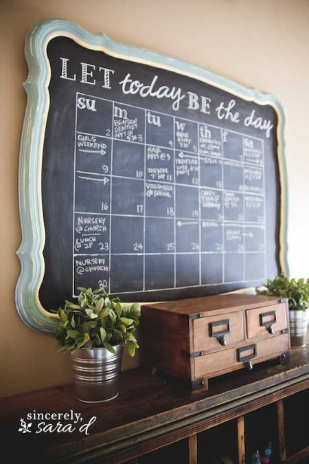 diy chalkboard calendar made from a thrift store mirror