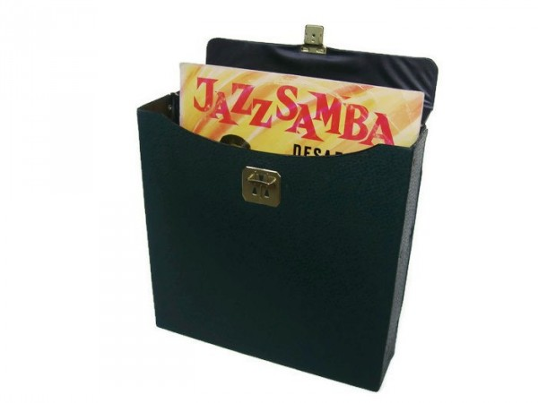 vintage vinyl record storage case in green faux leather