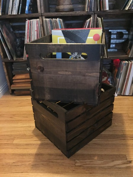 each dark walnut lp crate can store up to 100 vinyl records