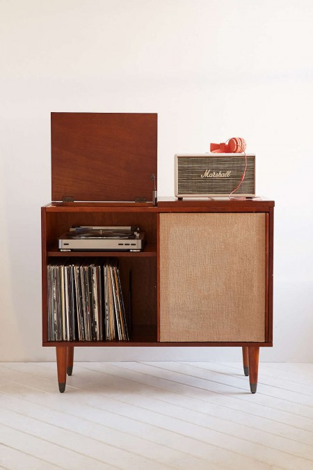 midcentury modern draper media console stores vinyl records a turntable and a