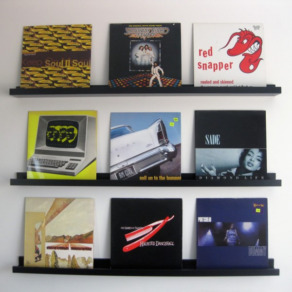 diy vinyl record floating shelves made from ikea ribba picture ledges