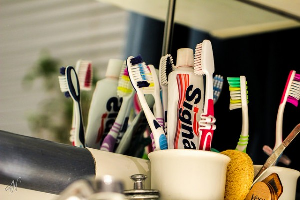 an organized toothbrush and toothpaste holder